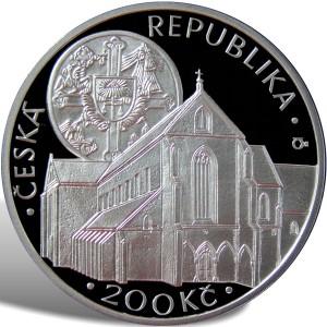 200 Kč Založení klášteru Zlatá koruna - špičková kvalita (proof)