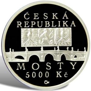 5 000 Kč Barokní most v Náměšti nad Oslavou - Špičková kvalita (proof)